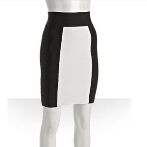 BCBGMAXAZRIA White Black Colorblock Bondage Skirt